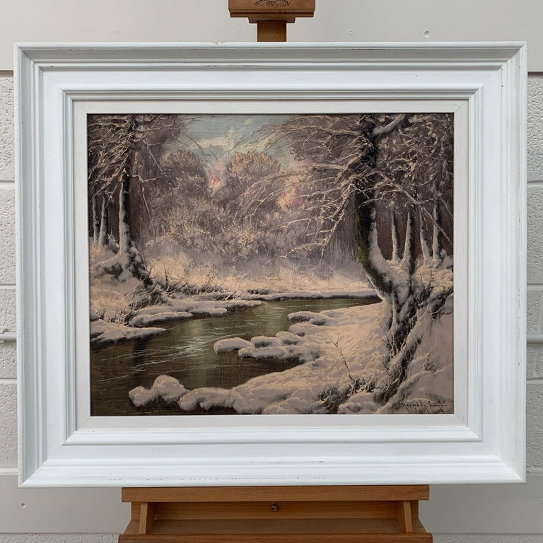 20th Century Painting of a Hungarian Winter Wonderland Forest River Snow Scene - Gray Landscape Painting by Laszlo Neogrady