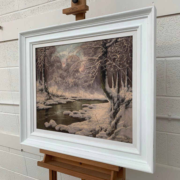 20th Century Painting of a Hungarian Winter Wonderland Forest River Snow Scene For Sale 1