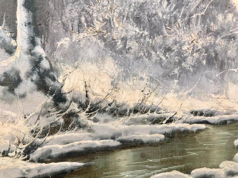20th Century Painting of a Hungarian Winter Wonderland Forest River Snow Scene For Sale 5