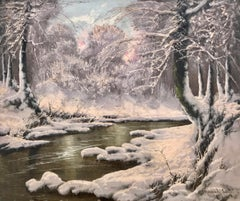 20th Century Painting of a Hungarian Winter Wonderland Forest River Snow Scene