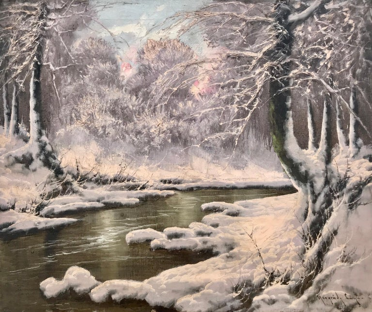 Laszlo Neogrady Landscape Painting - 20th Century Painting of a Hungarian Winter Wonderland Forest River Snow Scene