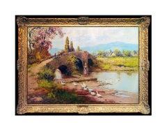 Laszlo Neogrady Large Landscape Painting Oil on Canvas Original Signed Artwork
