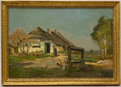 Laszlo Neogrady Thatched Cottage W/ Figure and Chickens Original Oil Painting