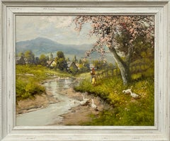 Countryside Village River Scene with Tree Blossom, Figure and Geese 20th Century
