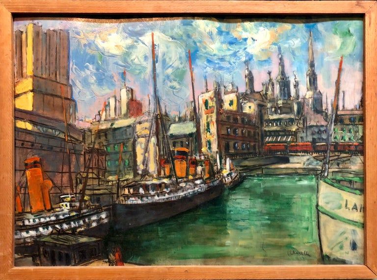 Hungarian Modernist Oil Painting Marine Harbor City Scene with Boats - Gray Landscape Painting by Laszlo Schalk
