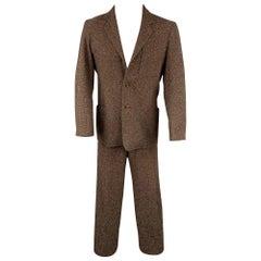 LAT NAYLOR Size S Brown Heather Polyester Blend Notch Lapel Suit