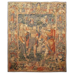 Late 16th Century Brussels Historical Tapestry, w/ Warriors Gathered in a Forest