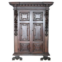 Late 16th Century Italian Louis XIV Hand Carved Walnut Wardrobe or Armoire