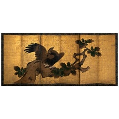 Late 16th Century, Japanese Folding Screen with Hawk Design, Momoyama Period