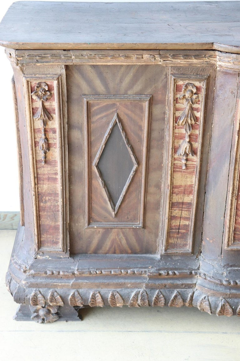 Rare collector's item ! Antique church altar from the late 16th century painted wood. On the front and sides written in Latin. Over the centuries it has undergone some changes. This piece of furniture is perfect for a historical museum or a church
