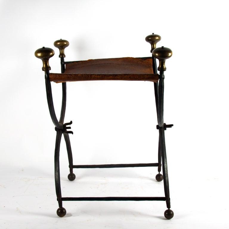 French 2nd half 16th century Renaissance stool Wrought iron.