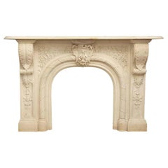 Late 1700s Heavily Carved Victorian Arched Statuary Marble Mantel