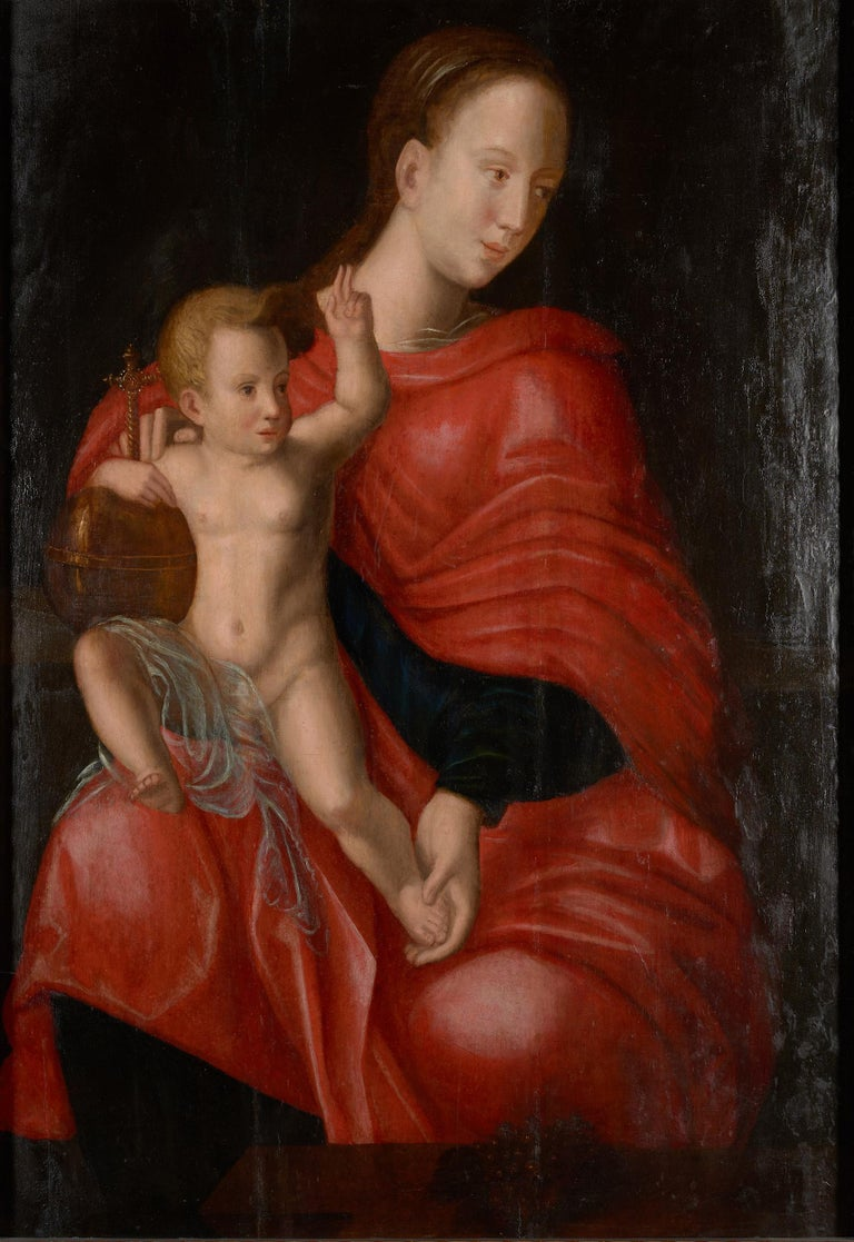 Belgian Flemish School, Painting of Madonna and Child, Oil on Panel, Framed For Sale