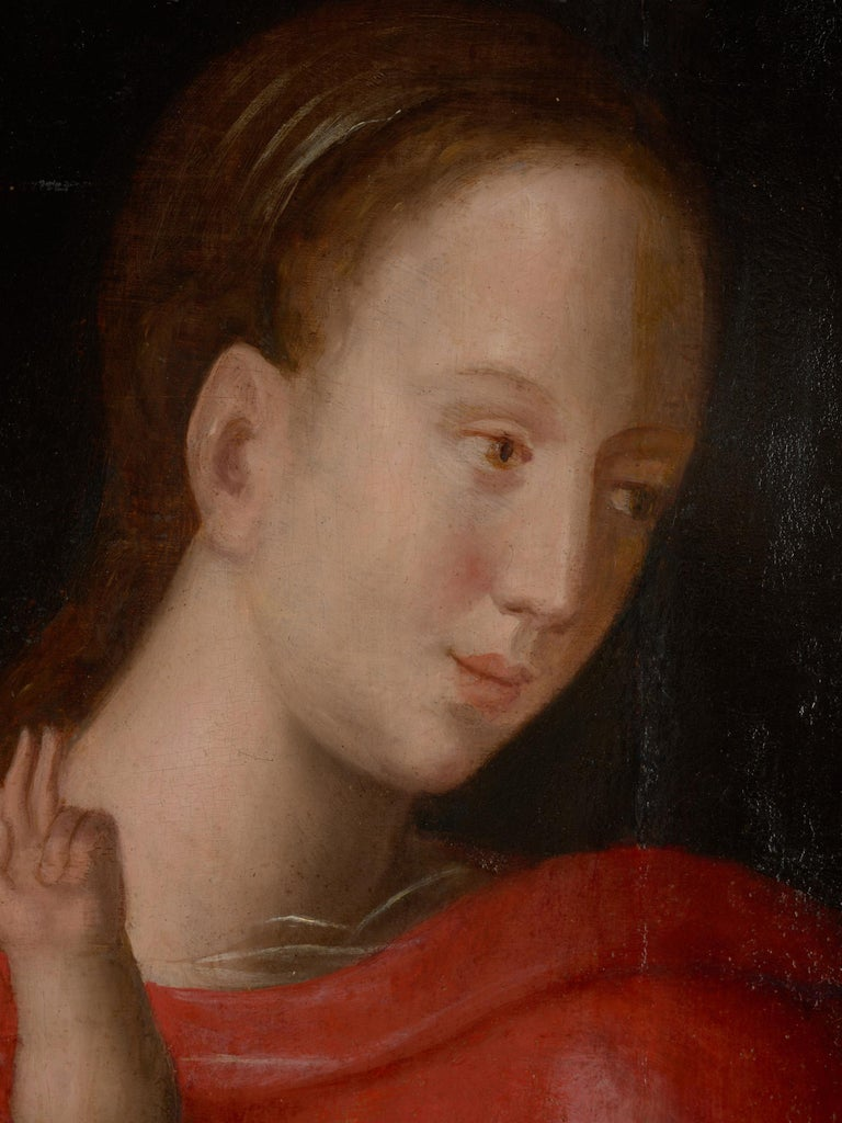 18th Century and Earlier Flemish School, Painting of Madonna and Child, Oil on Panel, Framed For Sale