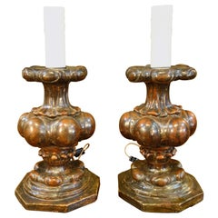 Late 17th Century Baroque Candelabra Table Lamp Pair, Florence, circa 1690