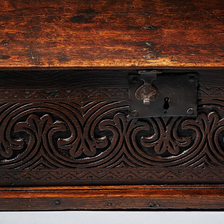 Baroque Late 17th Century Charles II Carved Oak Bible, Deed, Blanket, or Candle Box For Sale