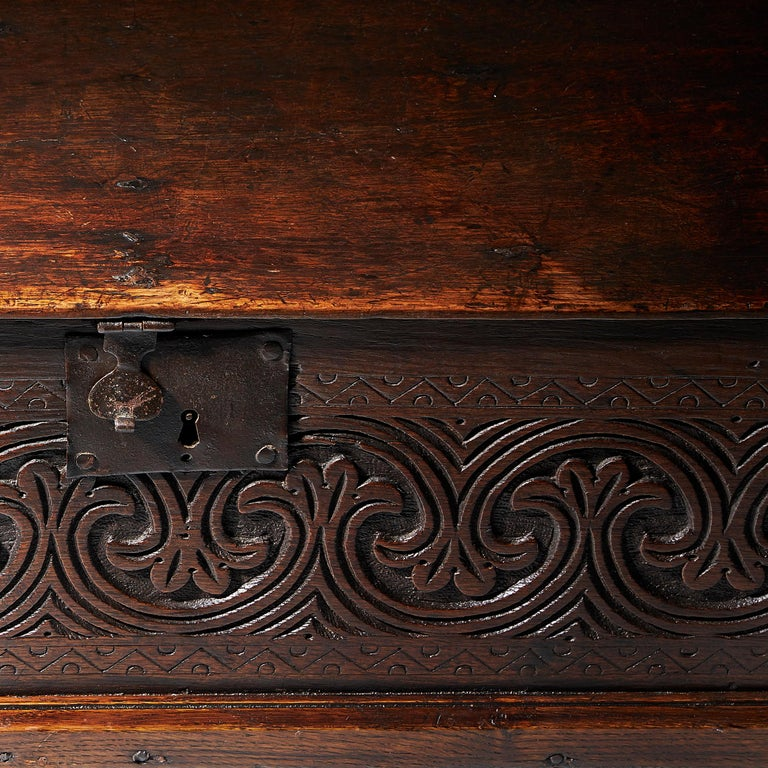 English Late 17th Century Charles II Carved Oak Bible, Deed, Blanket, or Candle Box For Sale