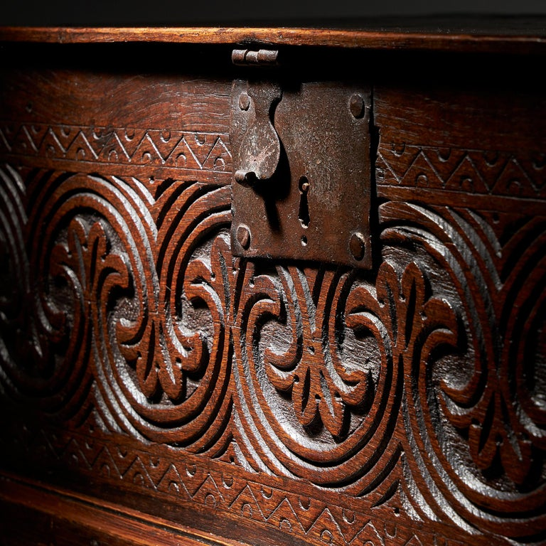 Late 17th Century Charles II Carved Oak Bible, Deed, Blanket, or Candle Box For Sale 1