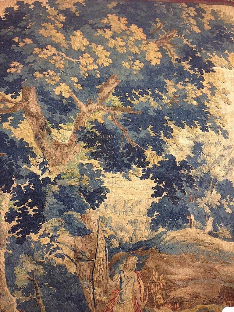 Baroque Late 17th Century Flemish Landscape Tapestry, with an Archer in a Forest For Sale