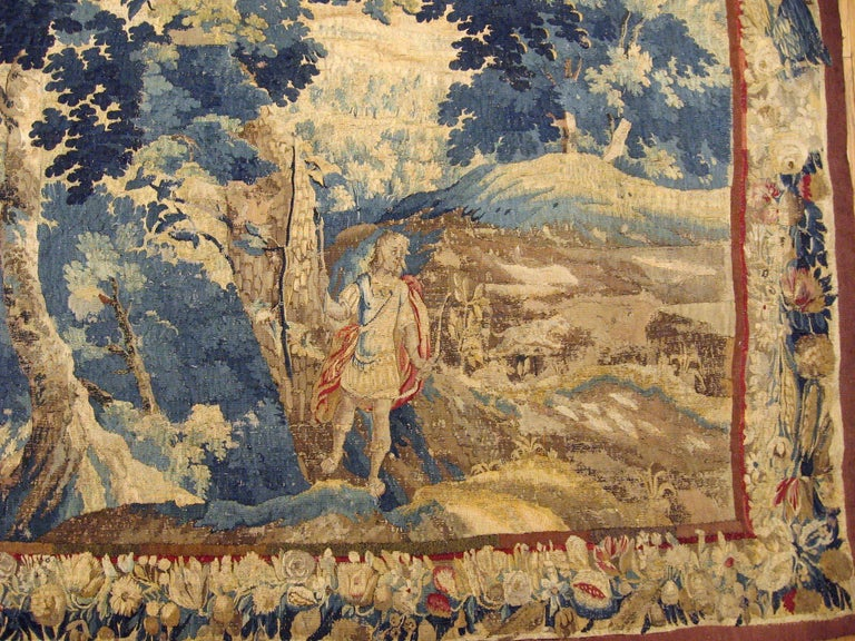 European Late 17th Century Flemish Landscape Tapestry, with an Archer in a Forest For Sale