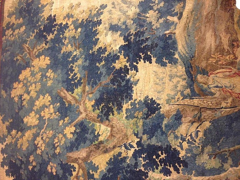 Hand-Woven Late 17th Century Flemish Landscape Tapestry, with an Archer in a Forest For Sale