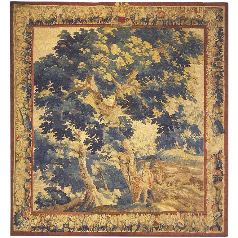 Late 17th Century Flemish Landscape Tapestry, with an Archer in a Forest For Sale