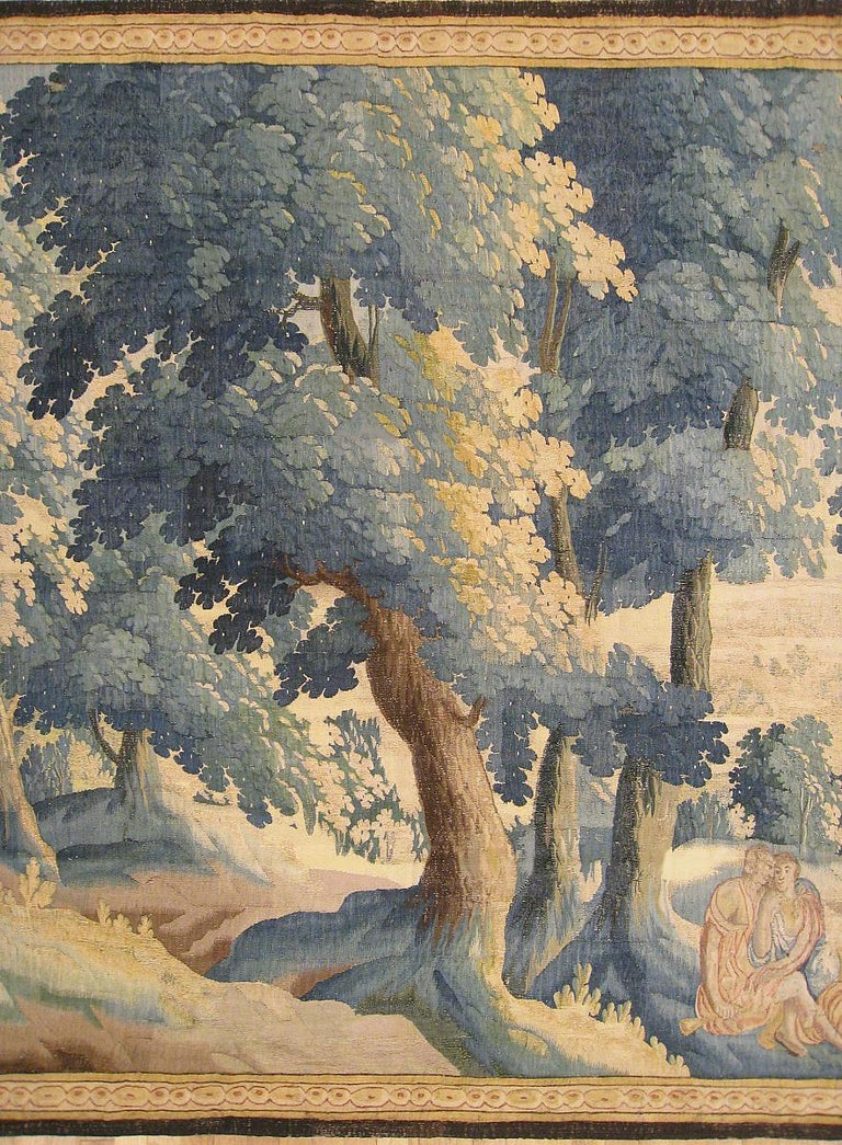 Hand-Woven Late 17th Century Flemish Pastoral Landscape Tapestry For Sale