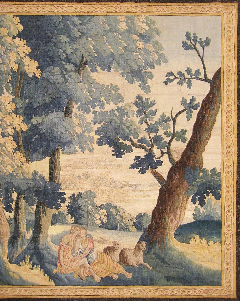 Late 17th Century Flemish Pastoral Landscape Tapestry In Good Condition For Sale In New York, NY