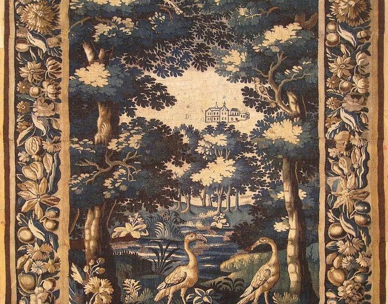European Late 17th Century Flemish Verdure Landscape Tapestry For Sale