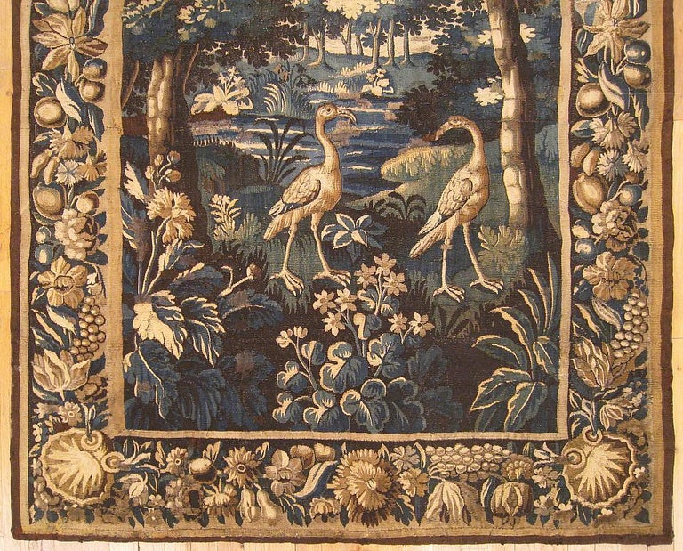 Hand-Woven Late 17th Century Flemish Verdure Landscape Tapestry For Sale