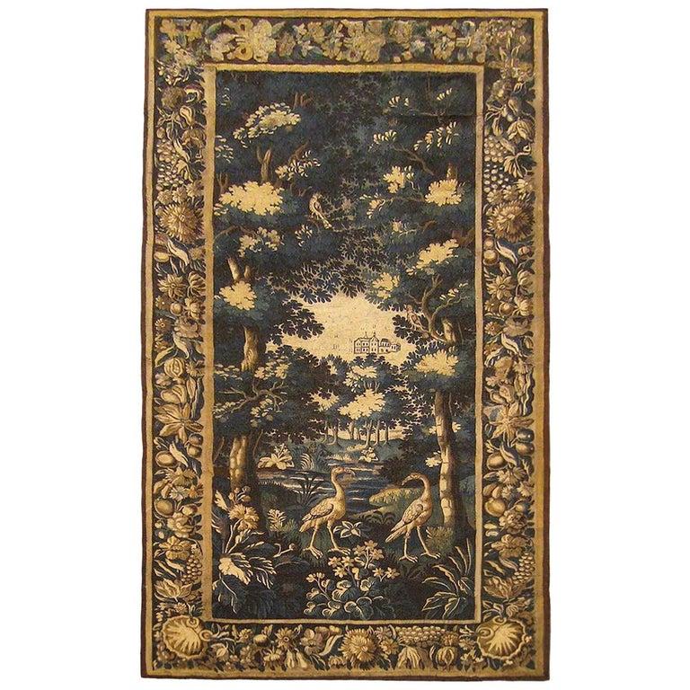 Late 17th Century Flemish Verdure Landscape Tapestry For Sale