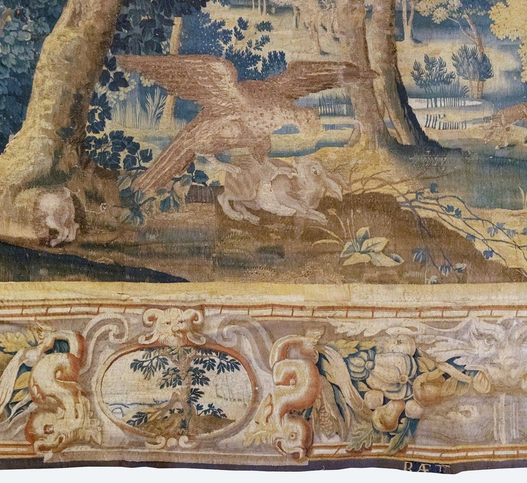 Baroque Late 17th Century Franco-Flemish Verdure Tapestry For Sale