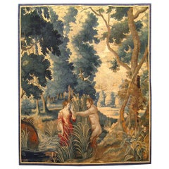 Late 17th Century French Aubusson Mythological Tapestry, with Pan and Syrinx
