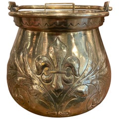 Late 17th Century French Louis XIV Brass Cauldron with Fleur de Lys and Crest