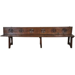 Late 17th Century French Wood Bench with Naive Motifs