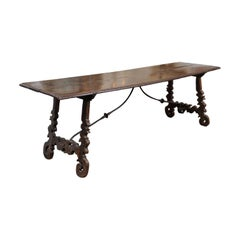 Late 17th Century Italian Chestnut Lyre Leg Hall Table