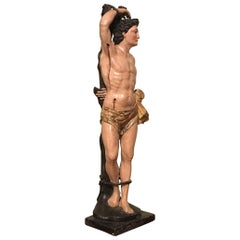 Late 17th Century Italian Saint Sebastian Sculpture in Carved and Painted Wood