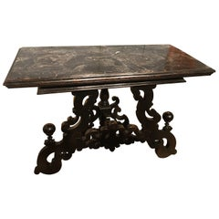 Late 17th Century Italian Wood Ebony Hand-Carved Black Marble Console