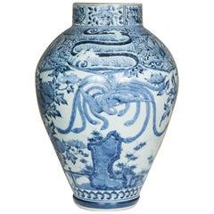 Late 17th Century Japanese Blue and White Arita Jar