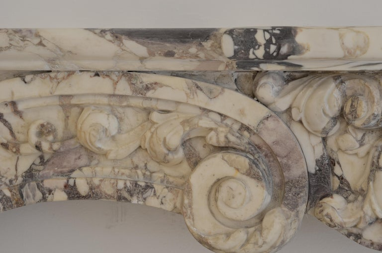 Antique Fireplace Mantel in Breche Violet Marble For Sale 3