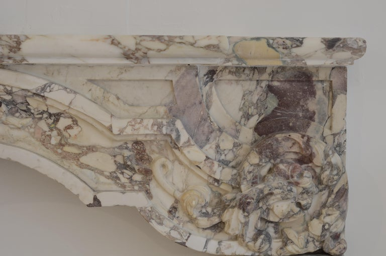 Antique Fireplace Mantel in Breche Violet Marble For Sale 7
