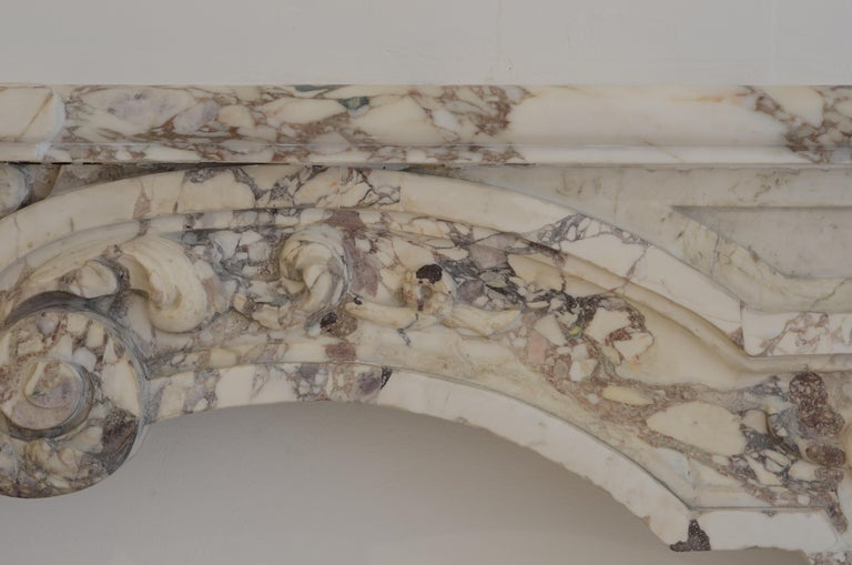 Antique Fireplace Mantel in Breche Violet Marble For Sale 6