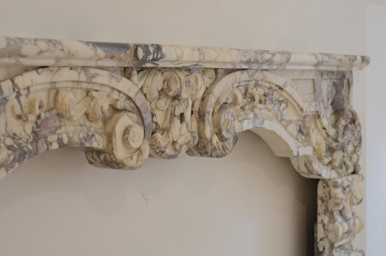 Antique Fireplace Mantel in Breche Violet Marble For Sale 12