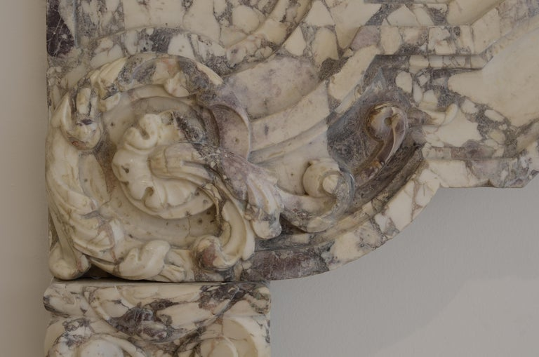 17th Century Antique Fireplace Mantel in Breche Violet Marble For Sale