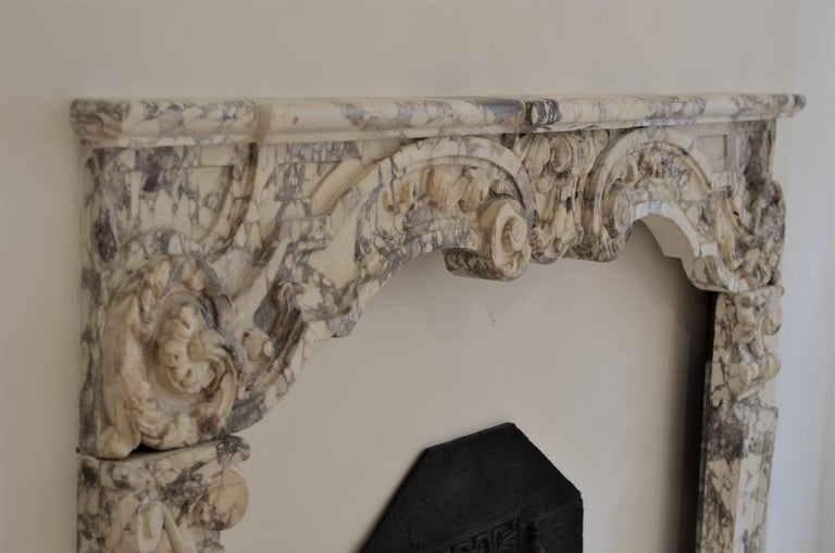 Antique Fireplace Mantel in Breche Violet Marble For Sale 13
