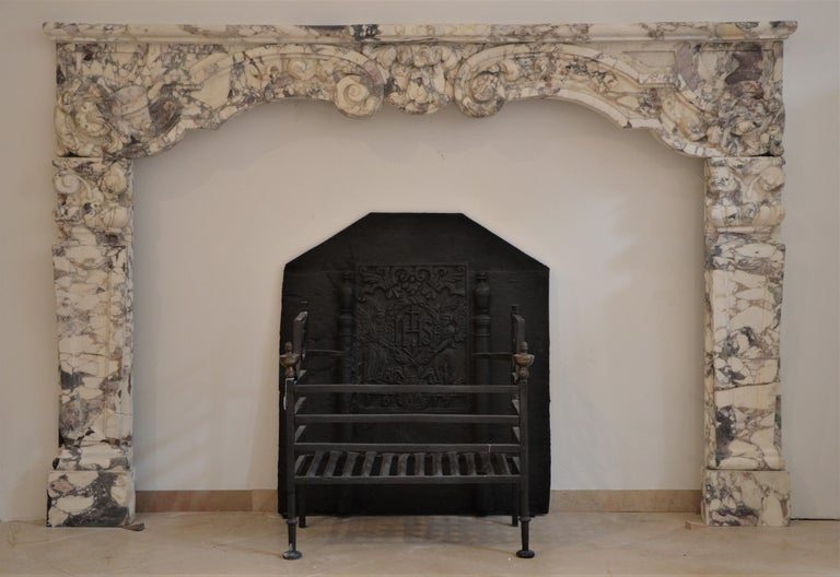 Louis XIV Antique Fireplace Mantel in Breche Violet Marble For Sale