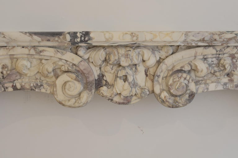 Antique Fireplace Mantel in Breche Violet Marble For Sale 4