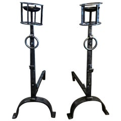 Late 17th Century Pair of Rustic Wrought-Iron Chenets