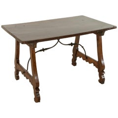 Late 17th Century Spanish Renaissance Style Walnut Writing Table, Iron Stretcher