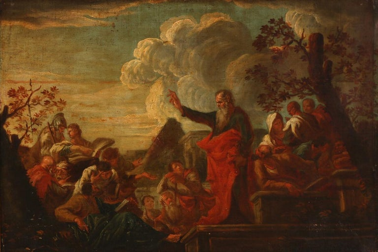 Late 17th century: the preaching of Paulus in Lystra. Unsigned. Oil on canvas.